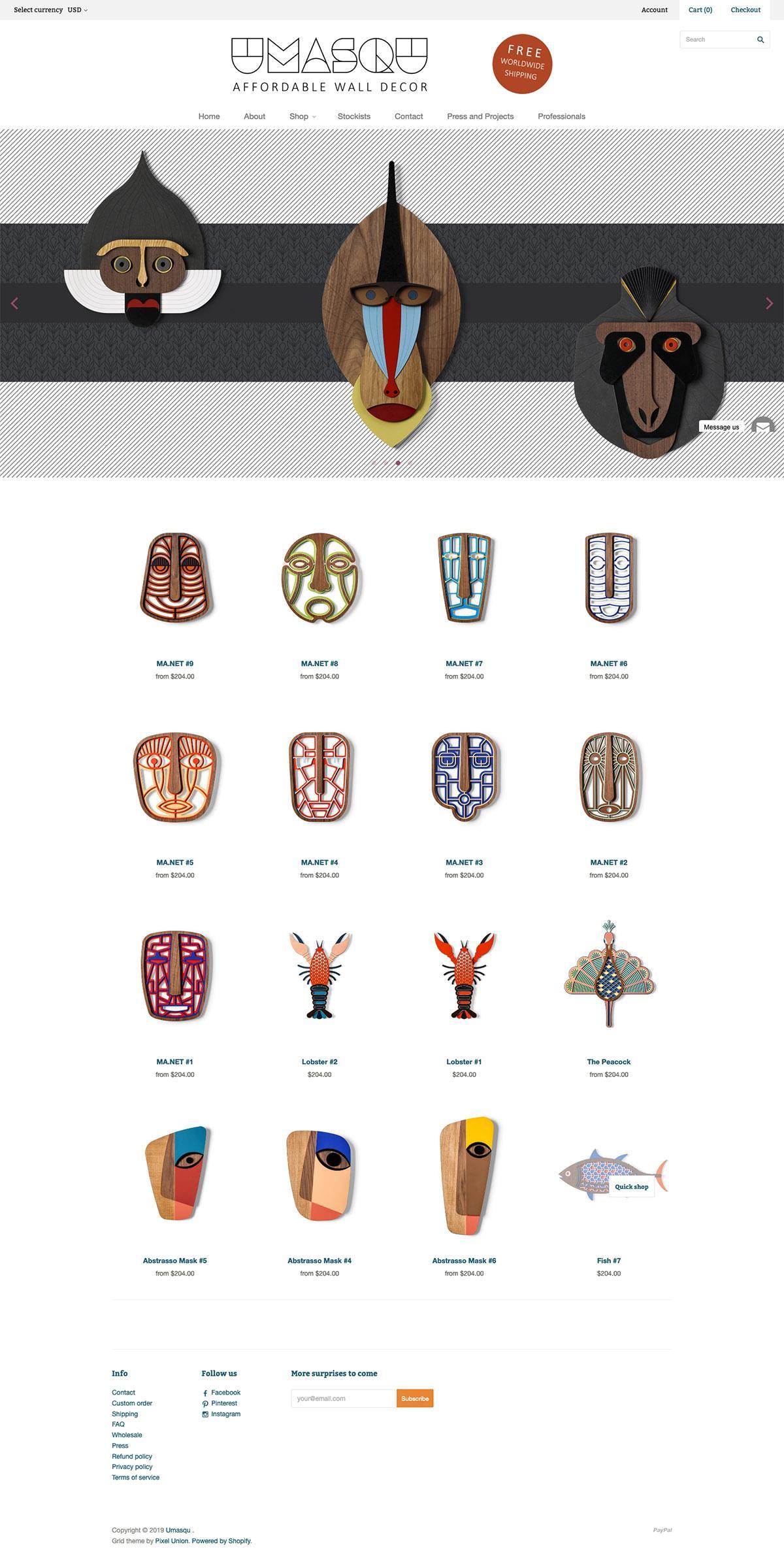 eCommerce website: Umasqu
