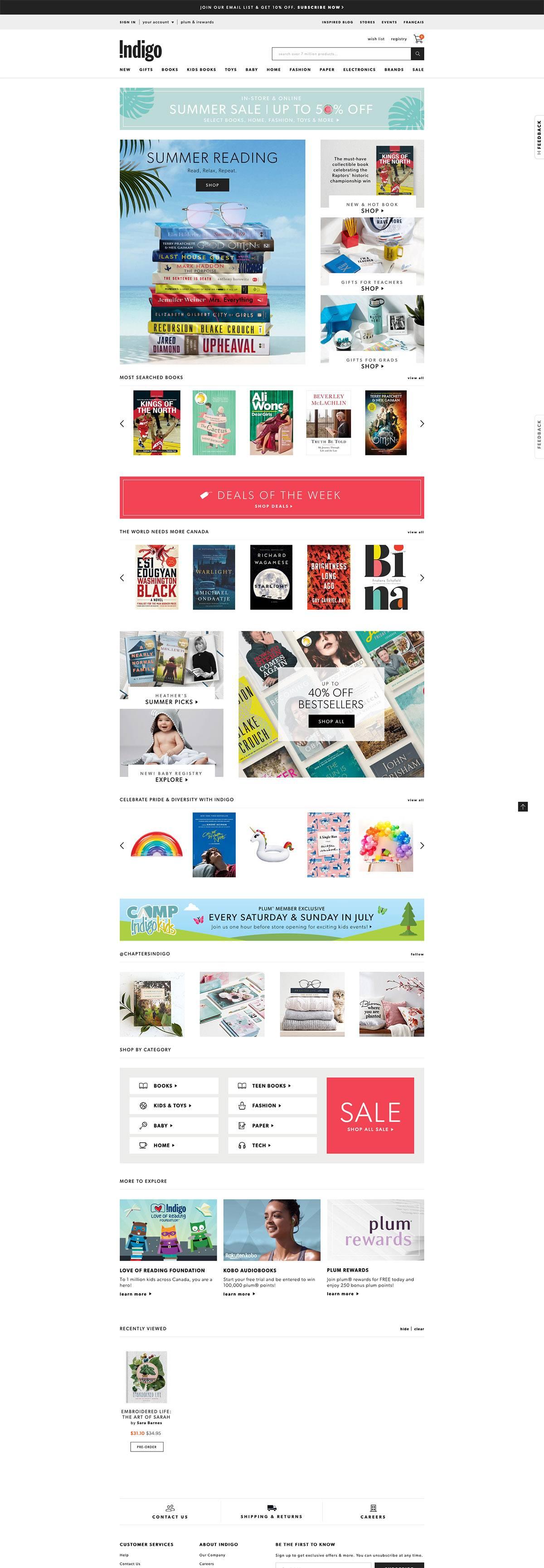 eCommerce website: Indigo