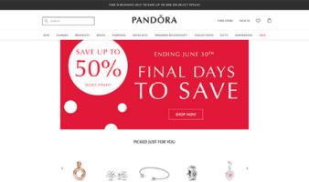 eCommerce website: Pandora