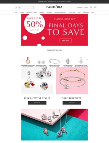 eCommerce website: Pandora