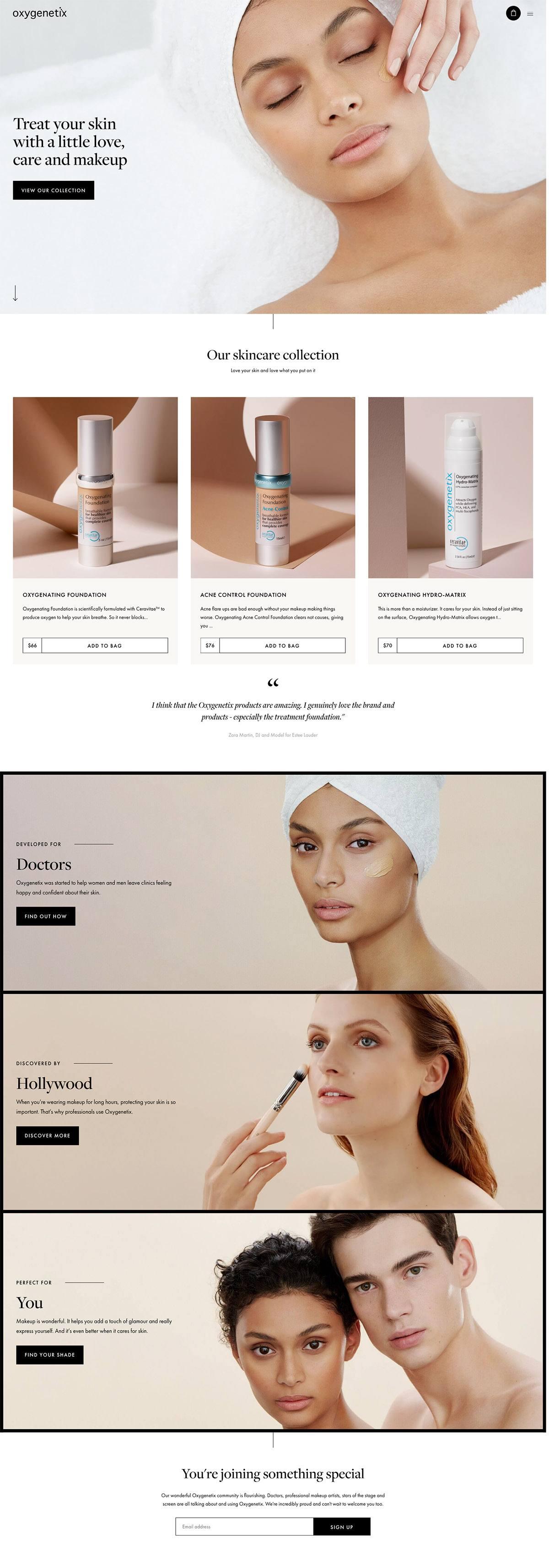 eCommerce website: Oxygenetix