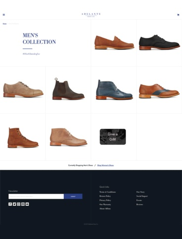 eCommerce website: Adelante Shoe Co.