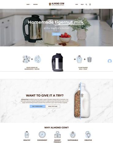 eCommerce website: Almond Cow
