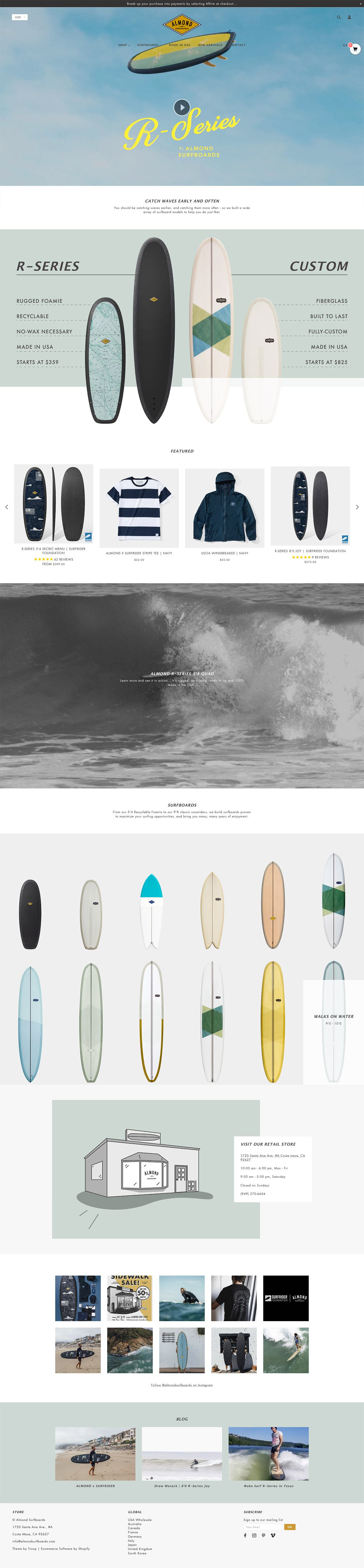 eCommerce website: Almond Surfboards