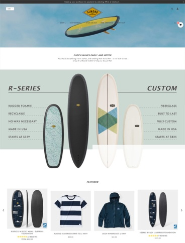 eCommerce website: Almond Surfboards