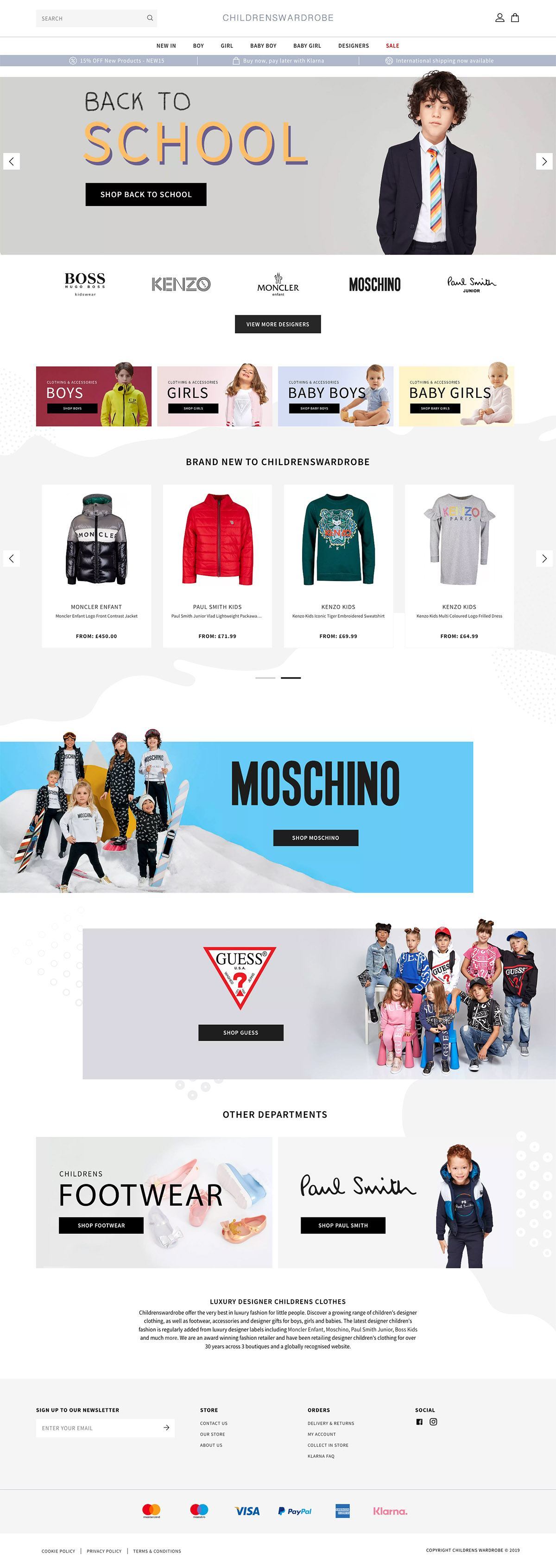 eCommerce website: Childrens Wardrobe