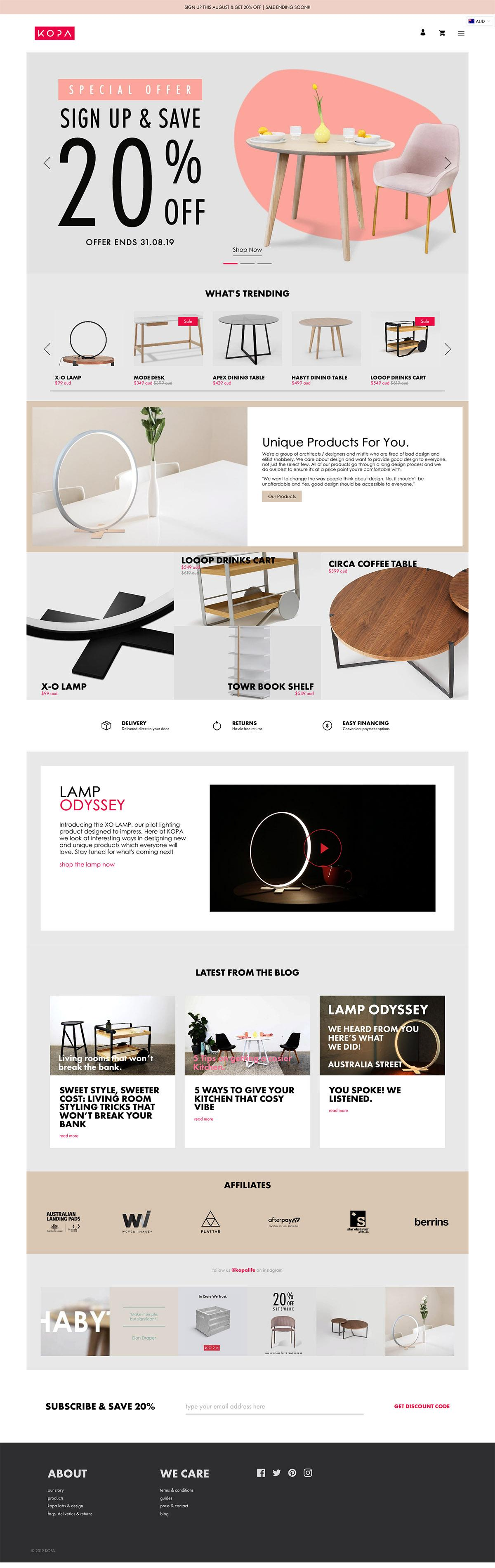 eCommerce website: KOPA Life