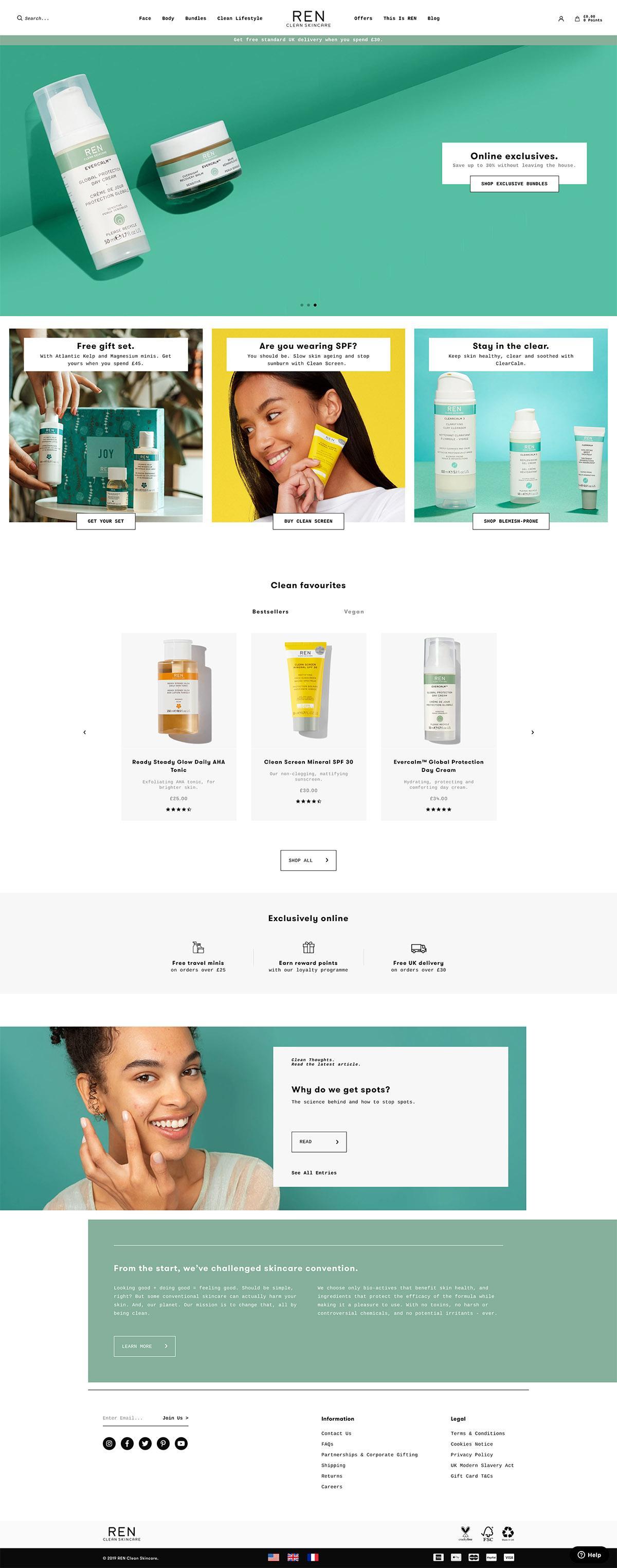 eCommerce website: REN Clean Skincare