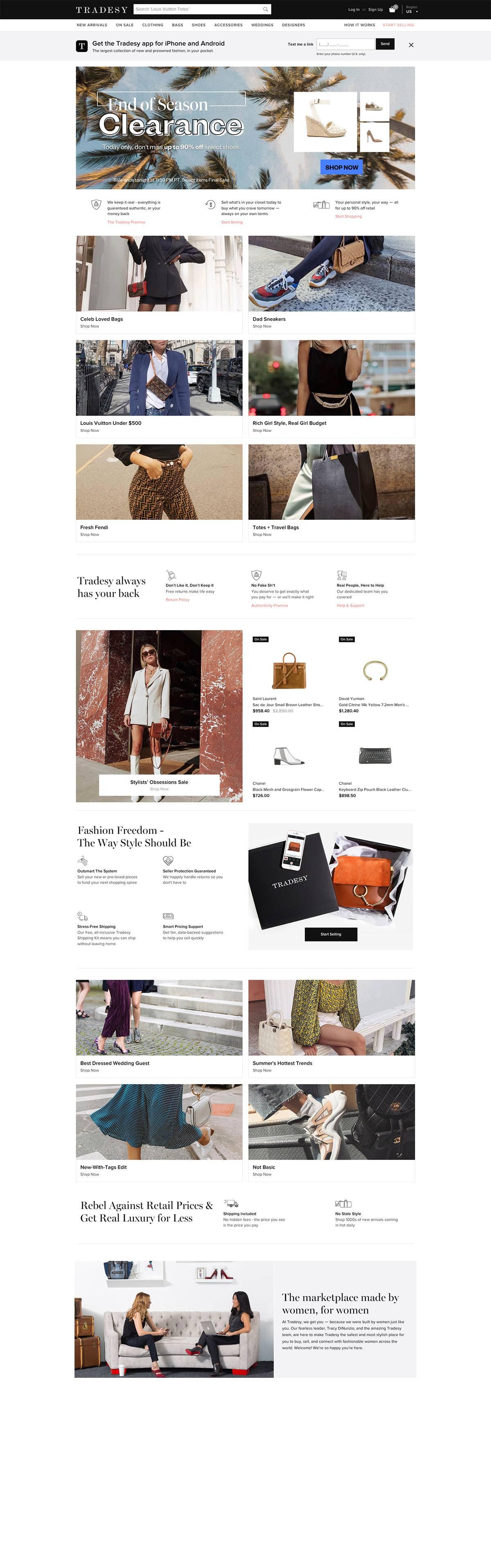 eCommerce website: Tradesy