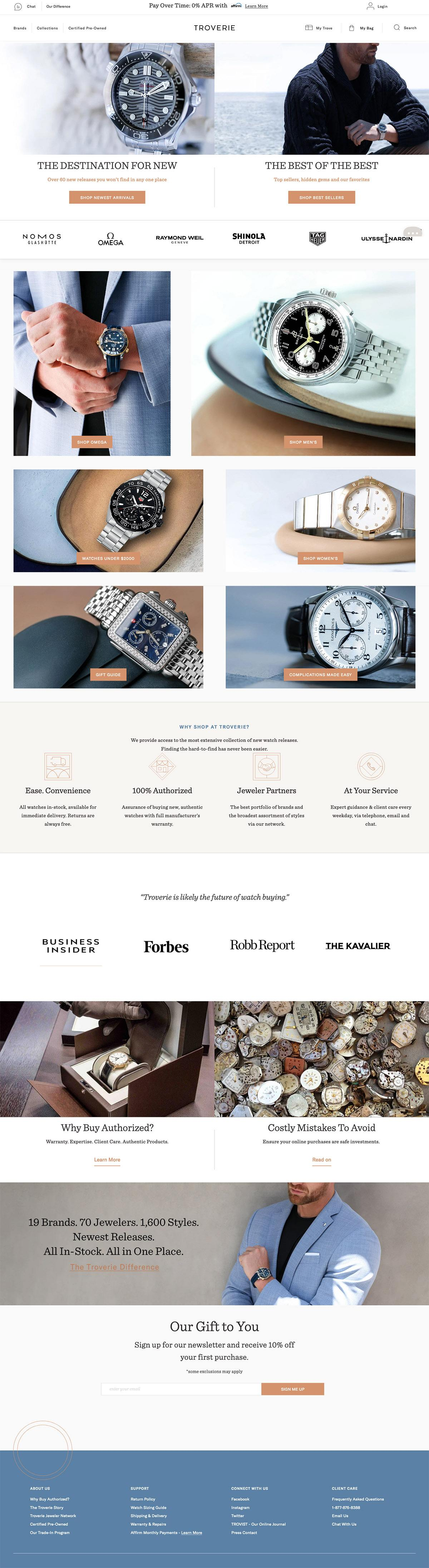 eCommerce website: Troverie