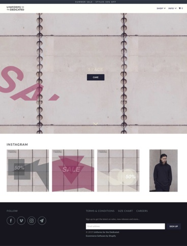 eCommerce website: Uniforms for the Dedicated