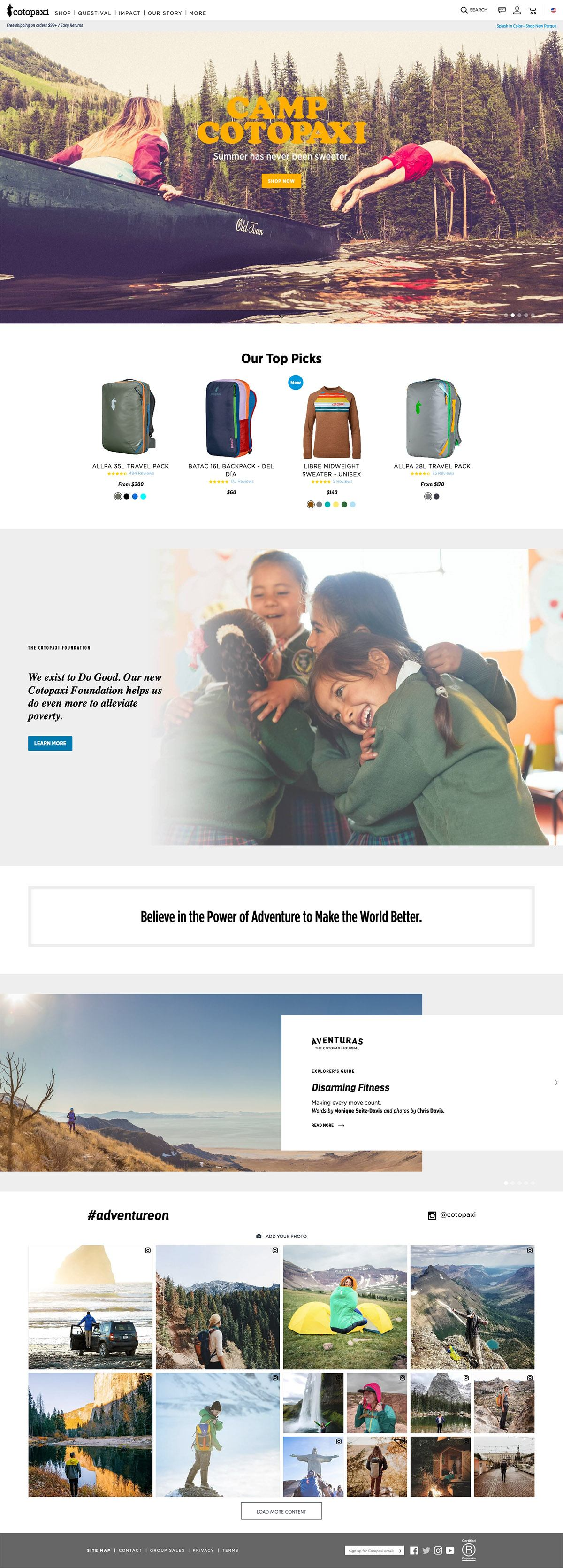 eCommerce website: Cotopaxi