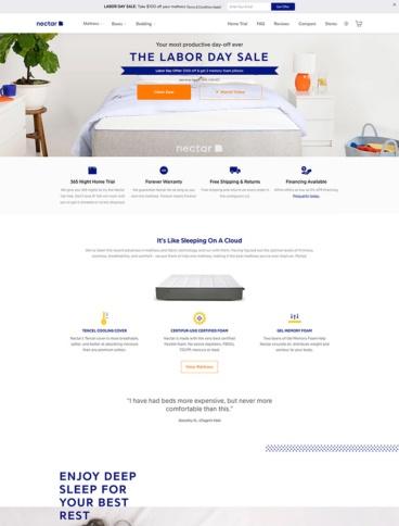 eCommerce website: Nectar Sleep