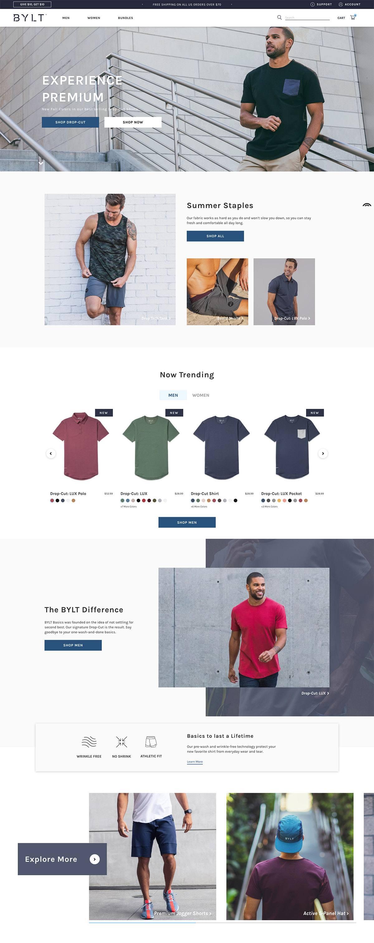eCommerce website: BYLT Basics