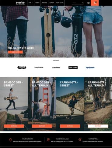 eCommerce website: Evolve Skateboards