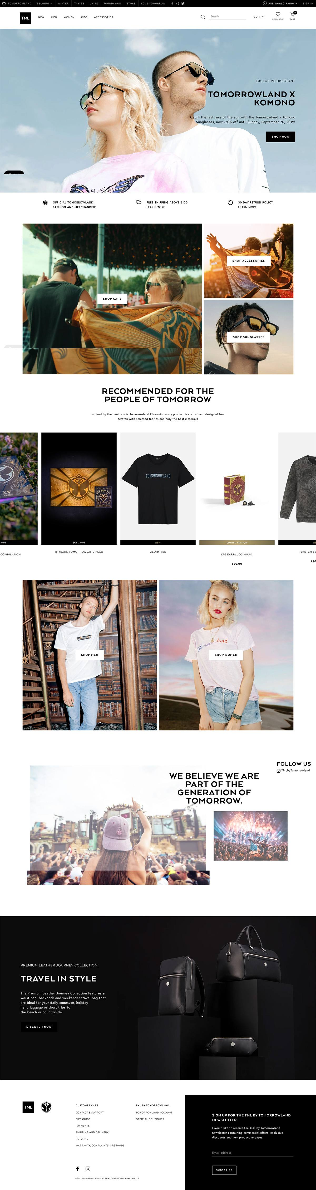 eCommerce website: TML by Tomorrowland