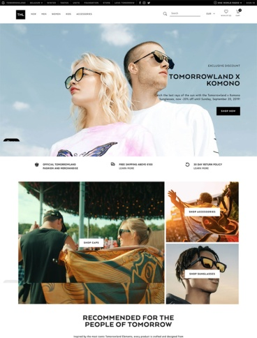 eCommerce website: TML by Tomorrowland