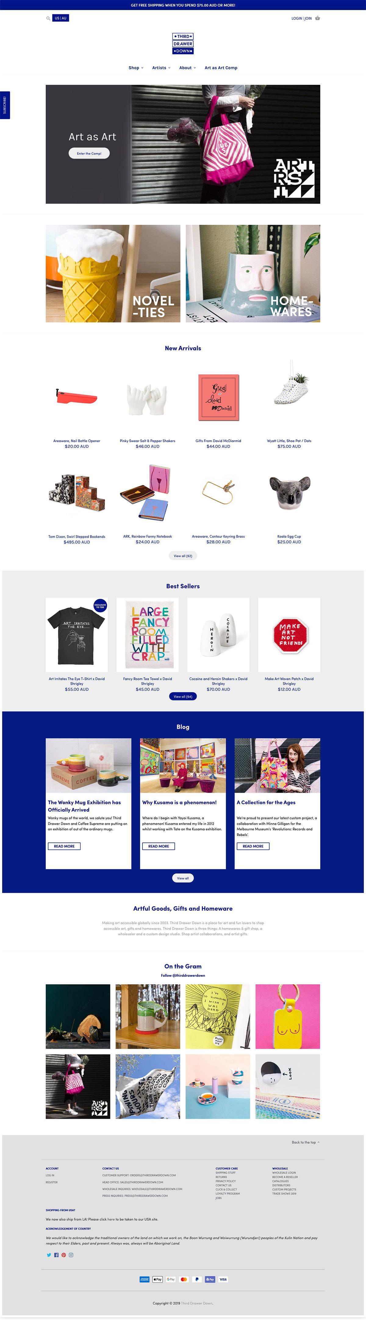 eCommerce website: Third Drawer Down