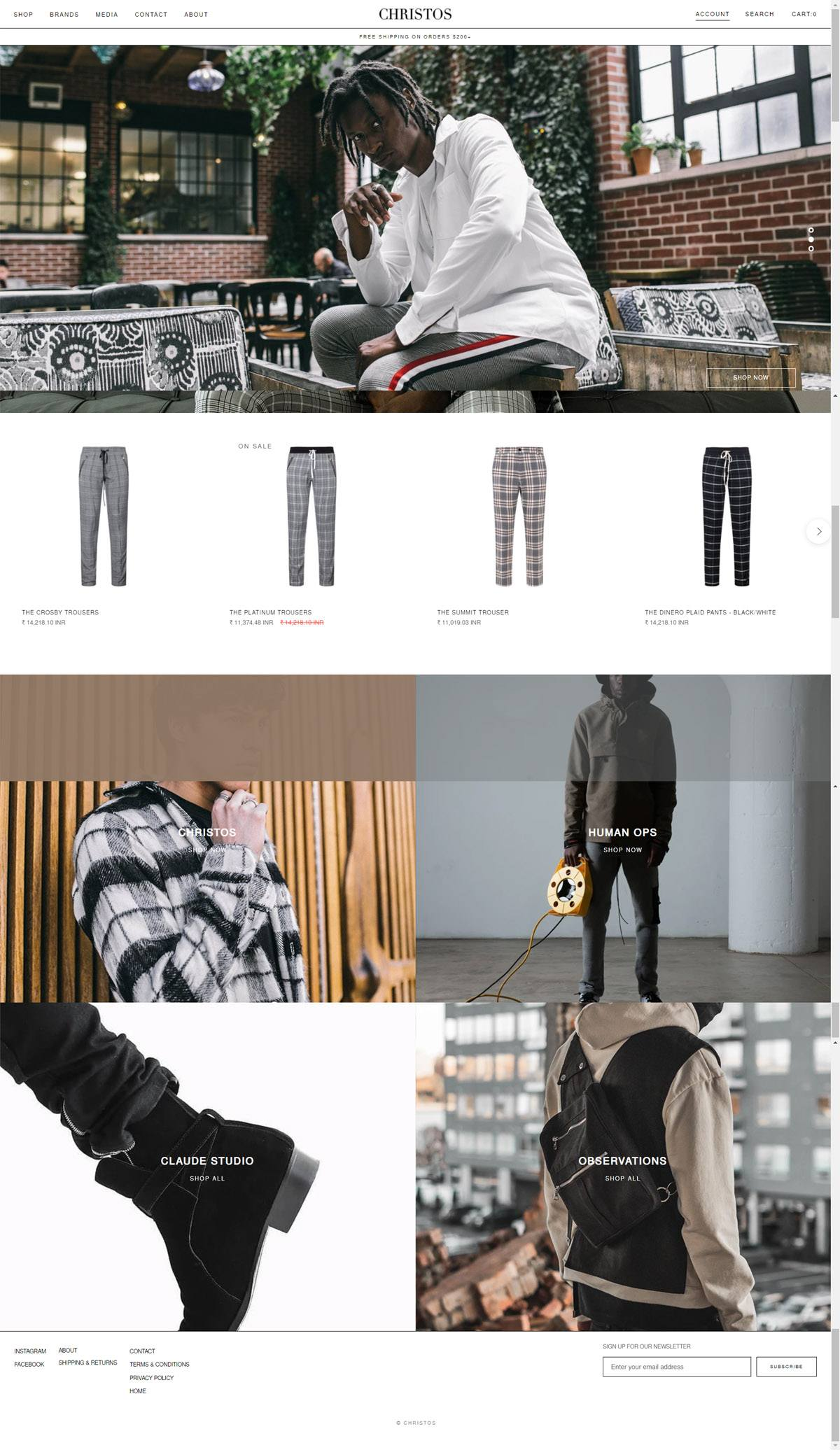 eCommerce website: Christos