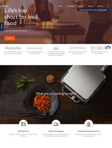eCommerce website: Cinder Grill