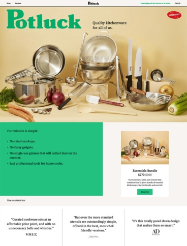 eCommerce website: Potluck