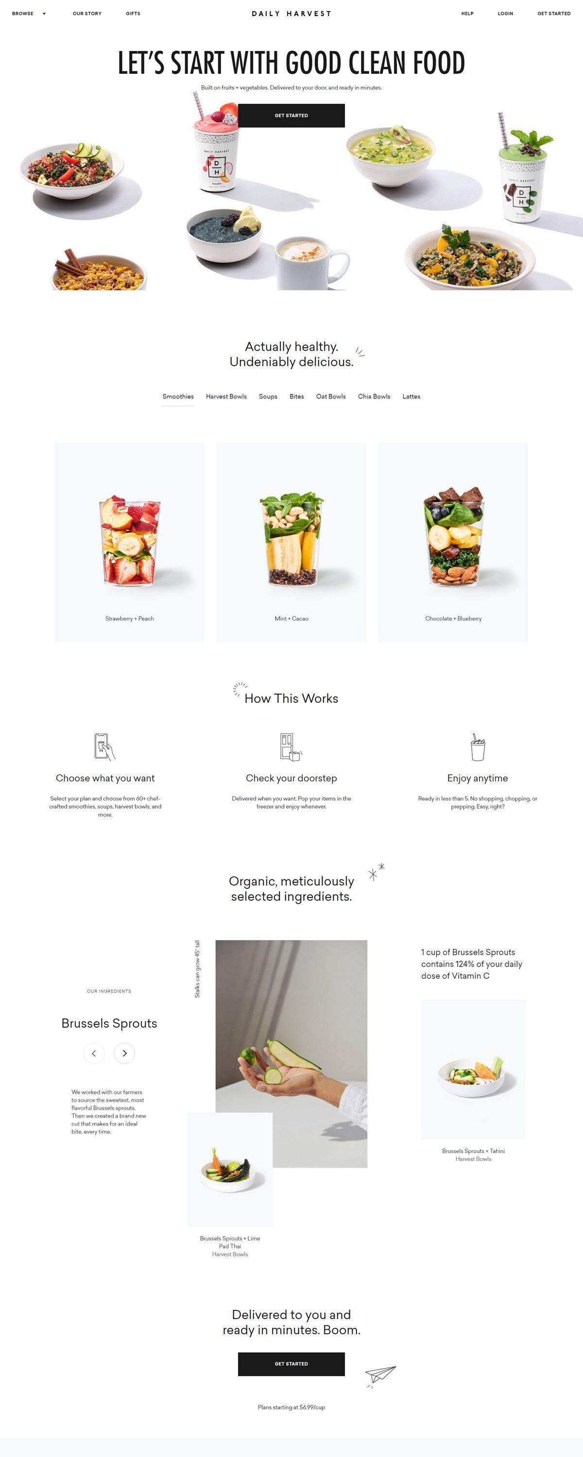 eCommerce website: Daily Harvest