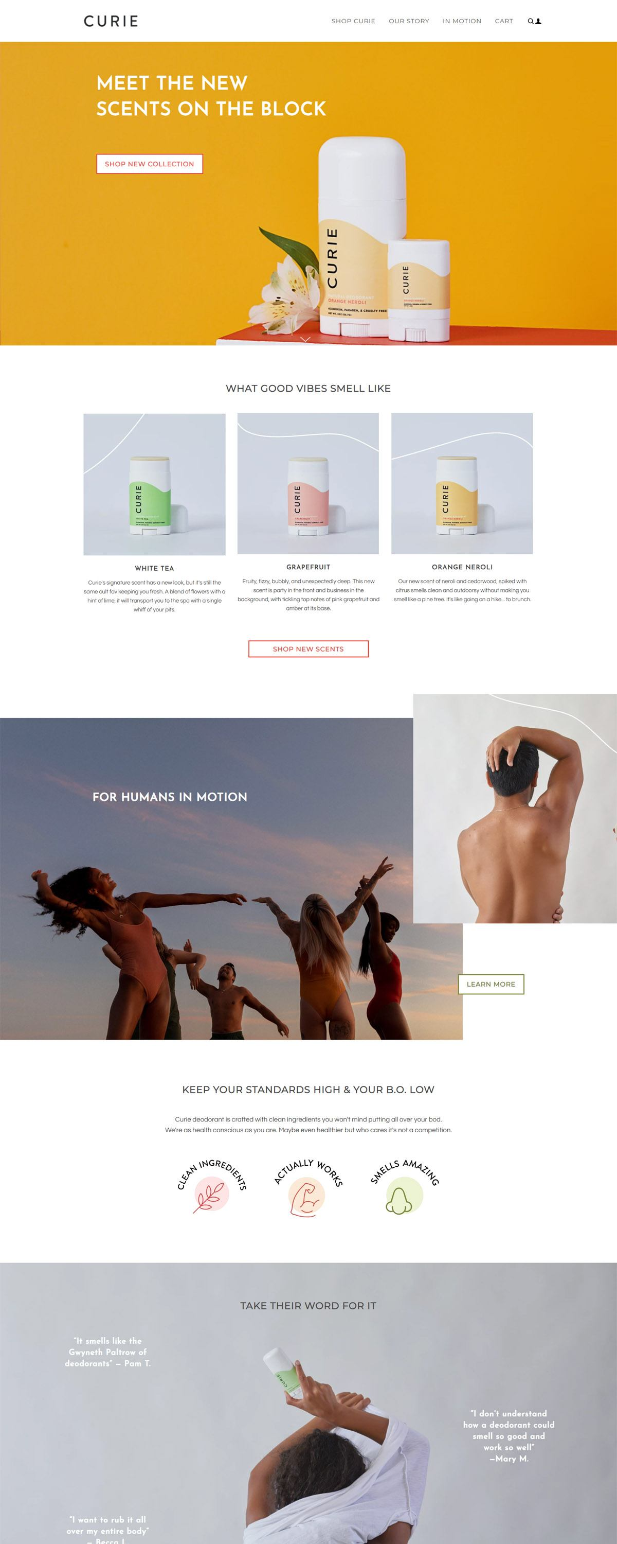 eCommerce website: Curie