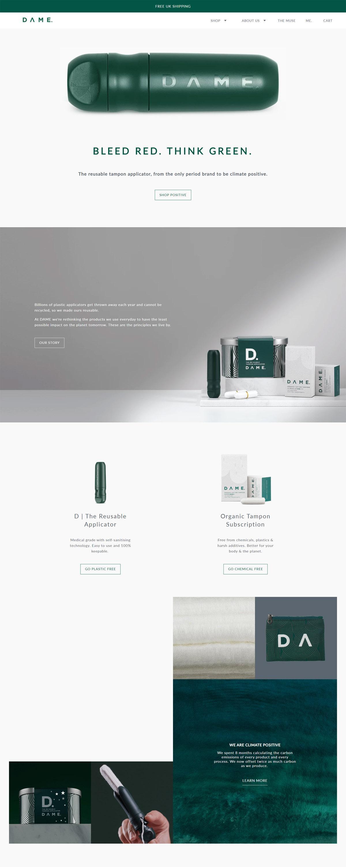 eCommerce website: DAME