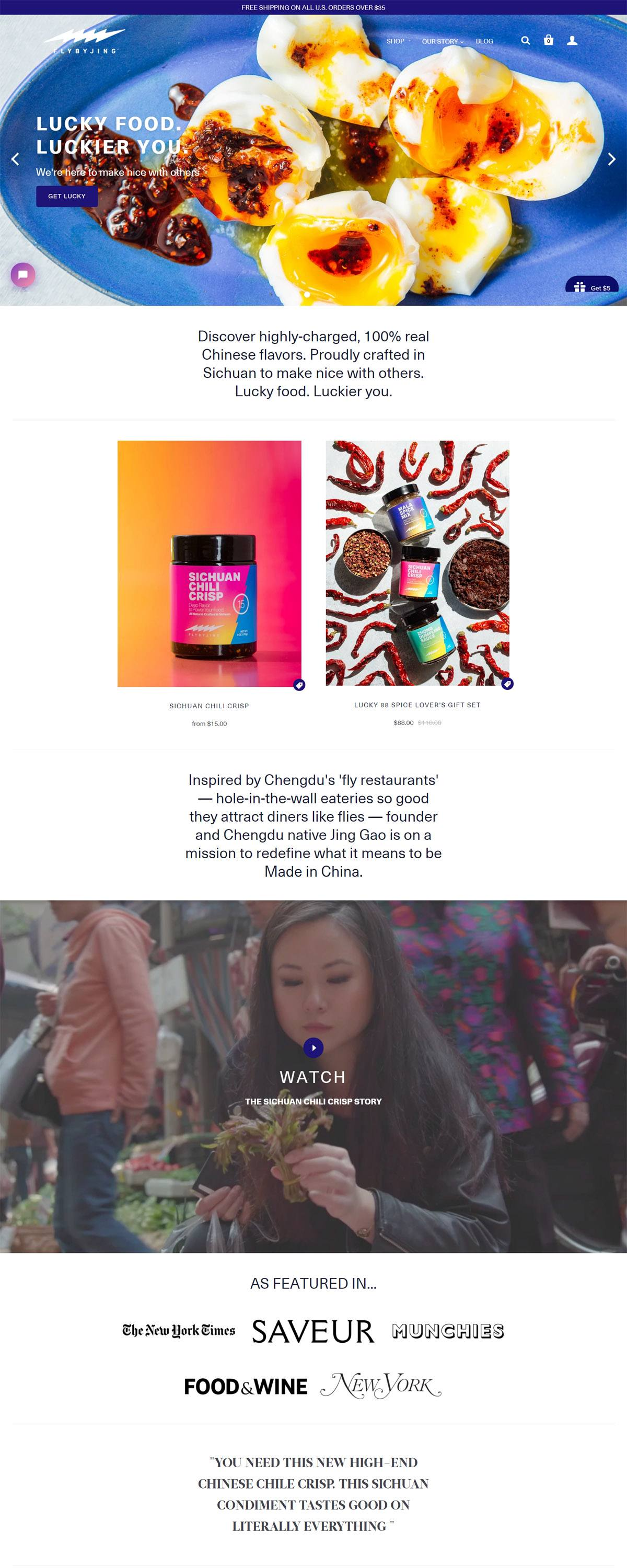eCommerce website: FLY BY JING
