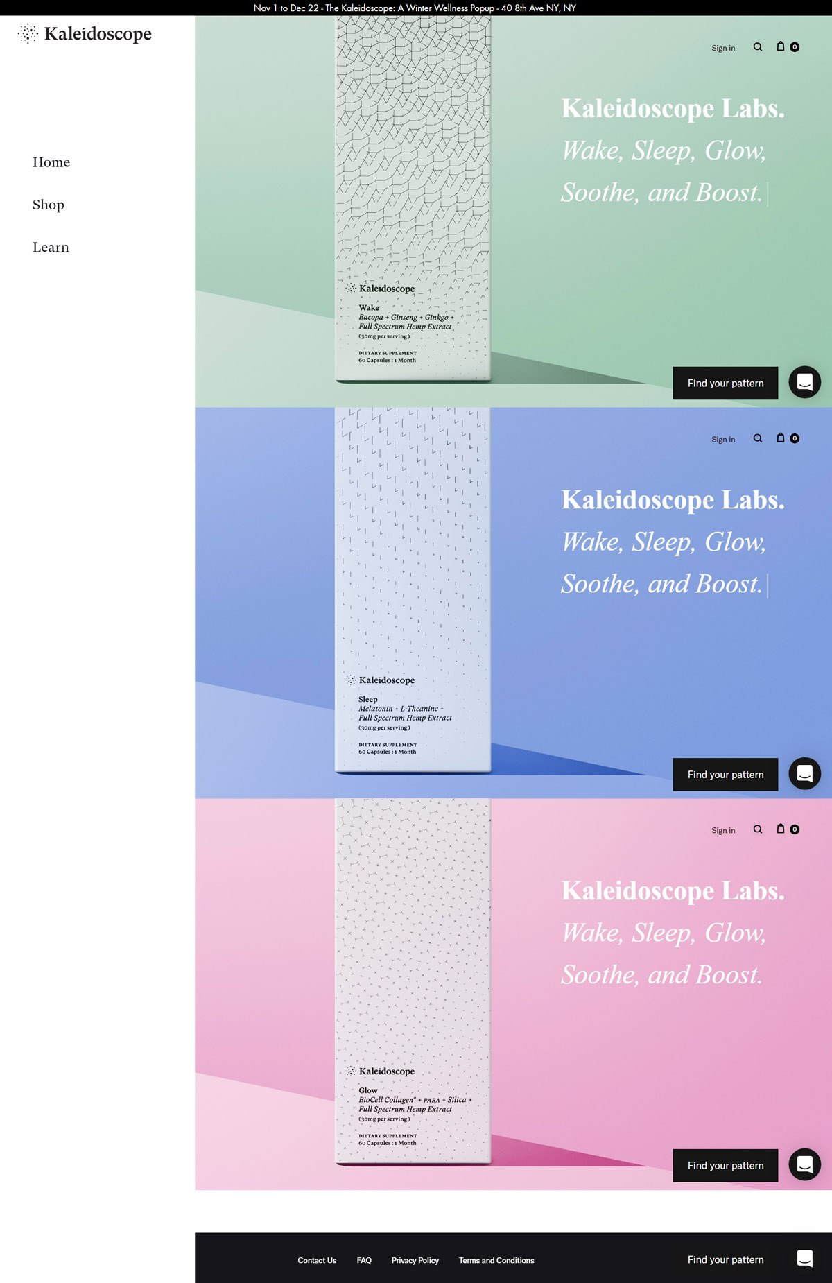 eCommerce website: Kaleidoscope Labs