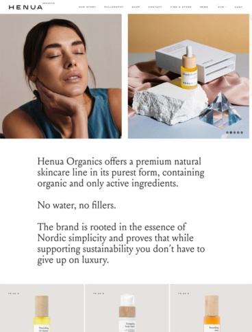 eCommerce website: Henua Organics
