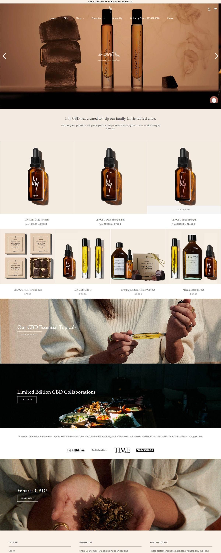 eCommerce website: Lily CBD