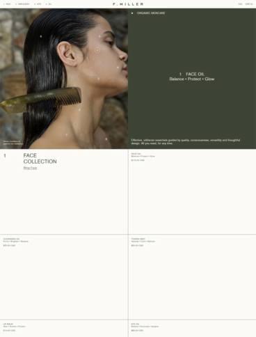 eCommerce website: F. Miller Skincare
