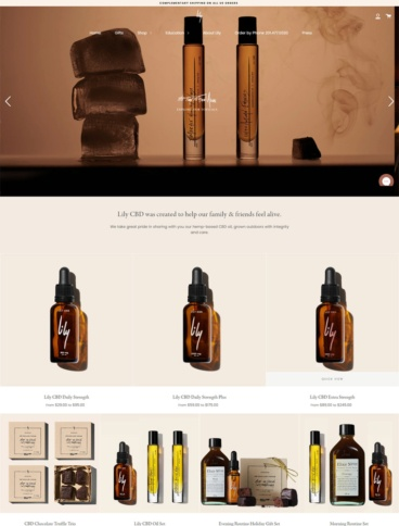 eCommerce website: Lily CBD