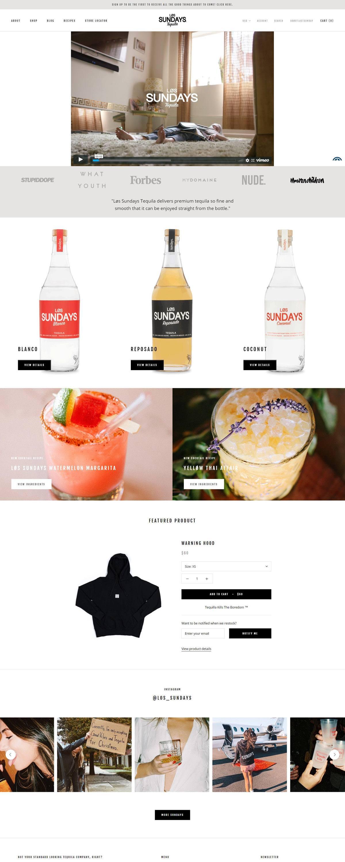 eCommerce website: Los Sundays