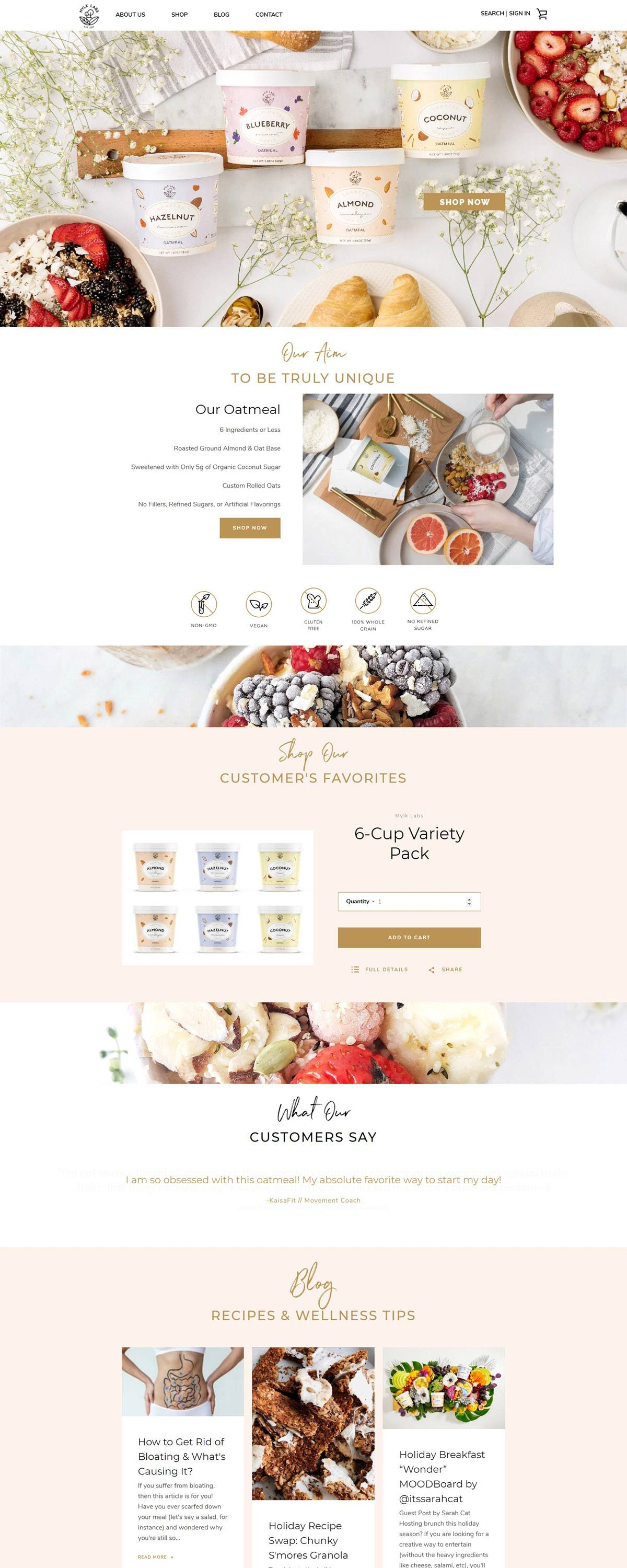 eCommerce website: Mylk Labs