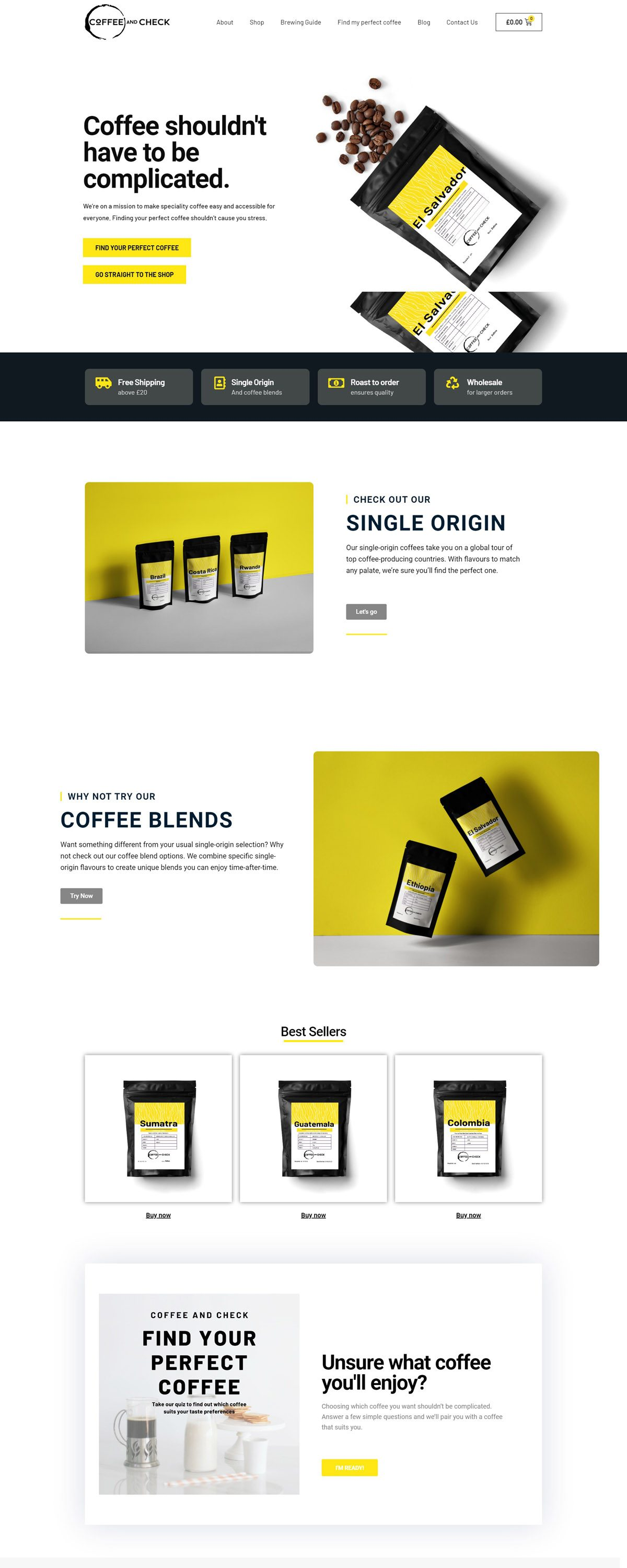 eCommerce website: Coffee and check