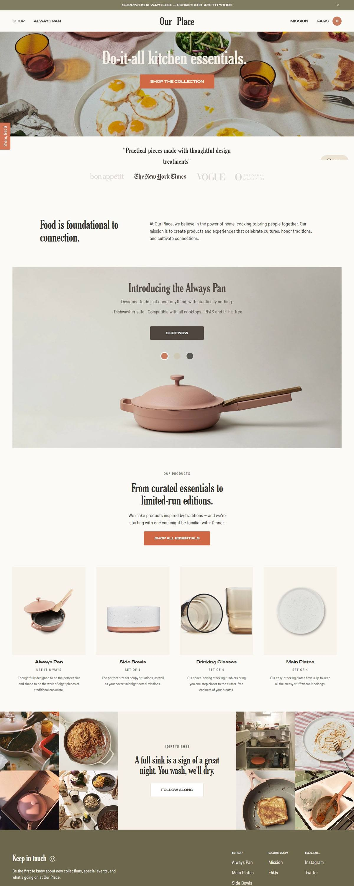 eCommerce website: Our Place