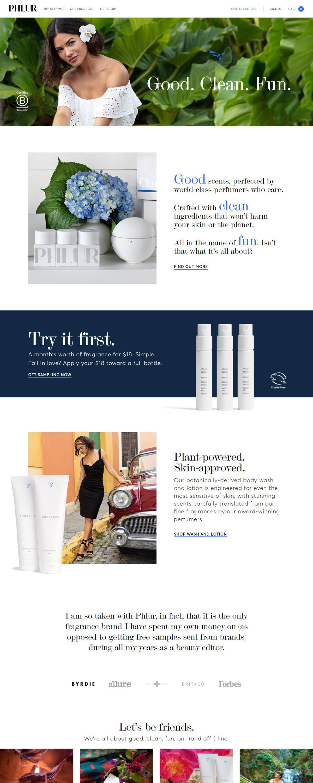 eCommerce website: PHLUR
