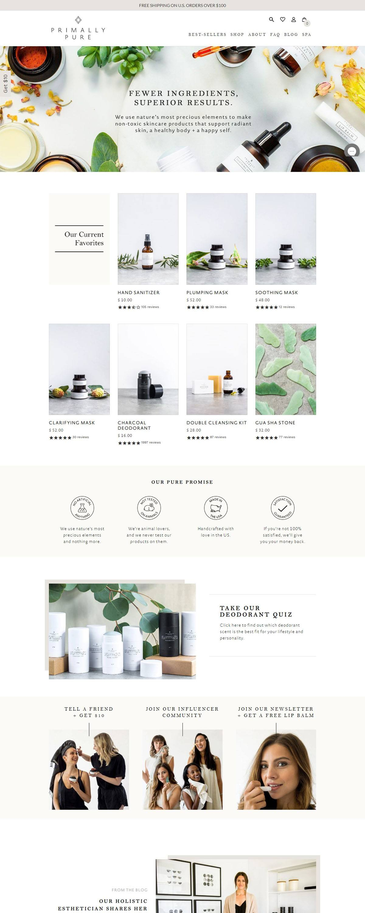 eCommerce website: Primally Pure