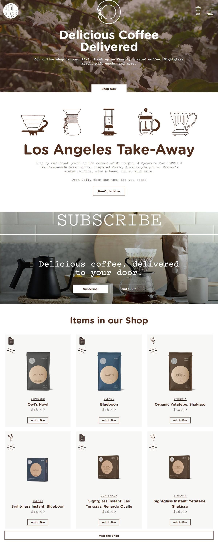 eCommerce website: Sightglass Coffee