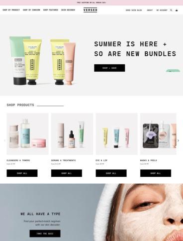 eCommerce website: Versed