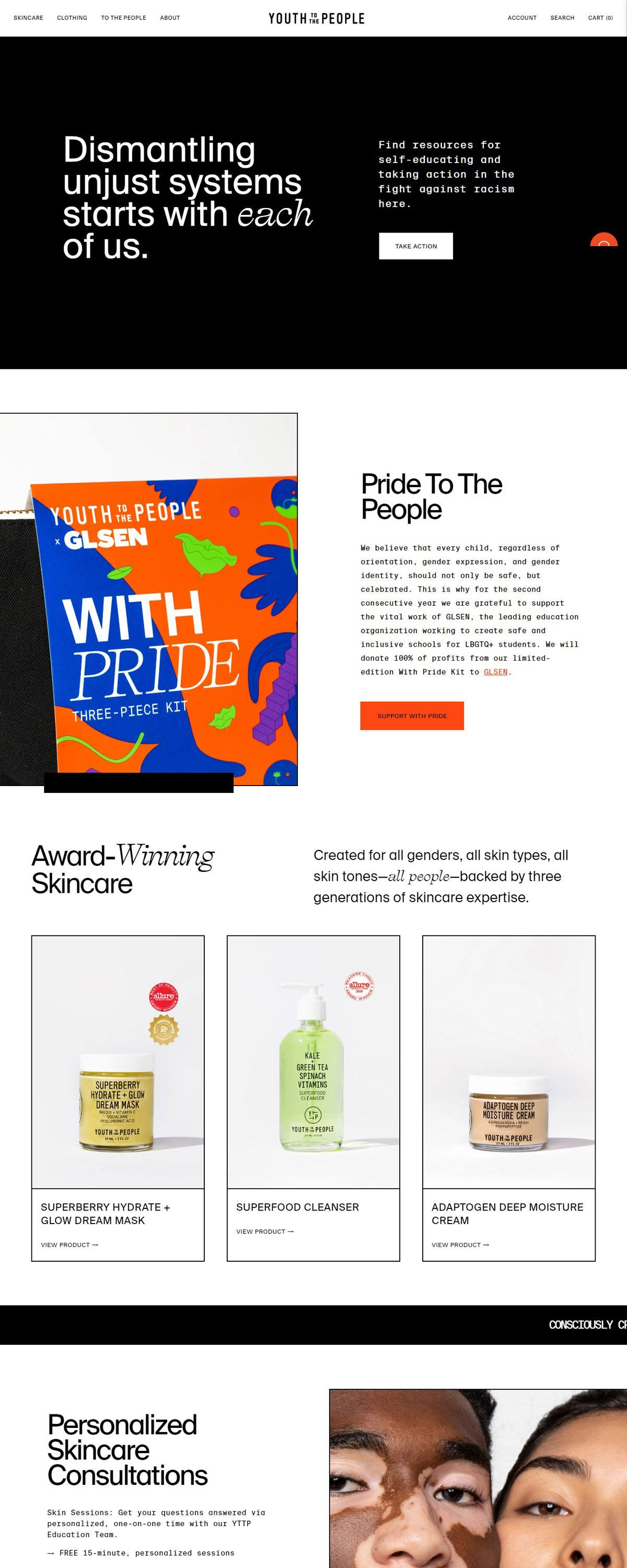 eCommerce website: Youth To The People
