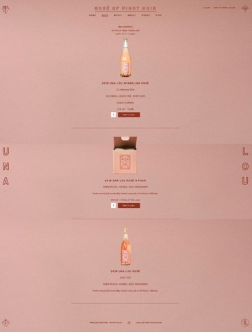 eCommerce website: Una Lou Rosé