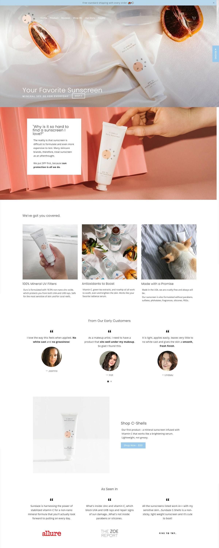 eCommerce website: Sundaze