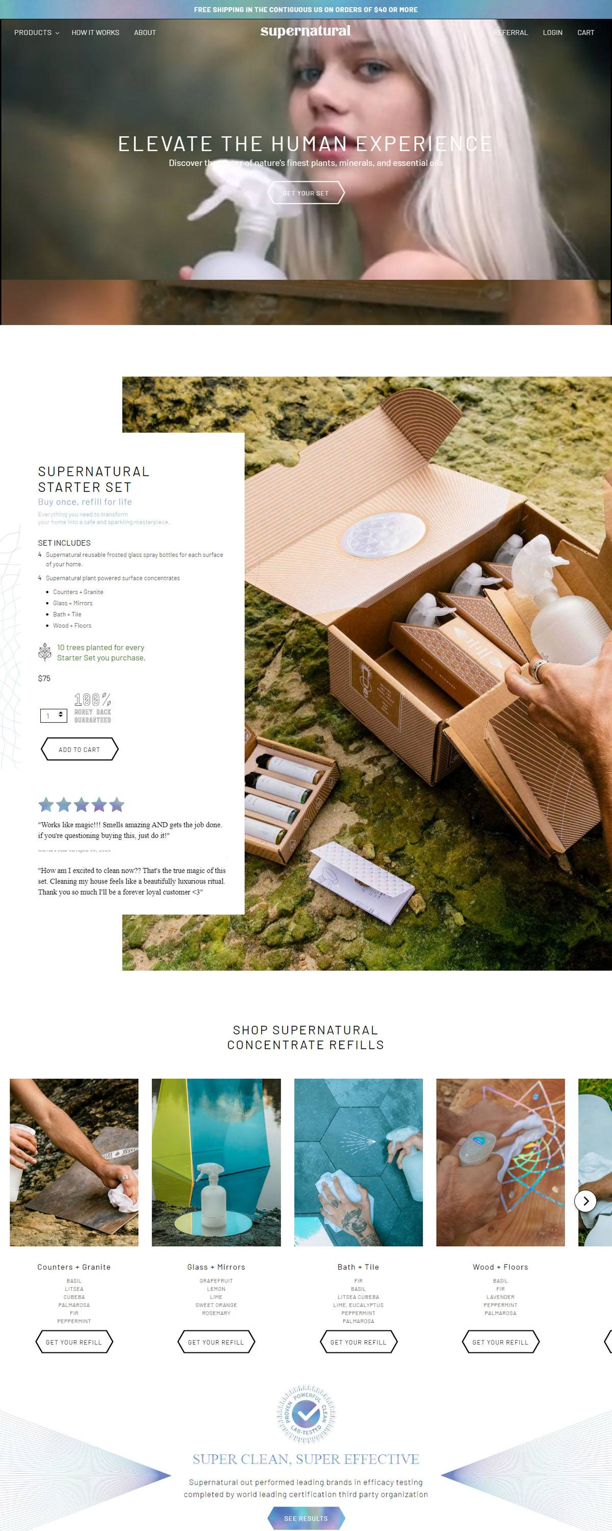 eCommerce website: Supernatural