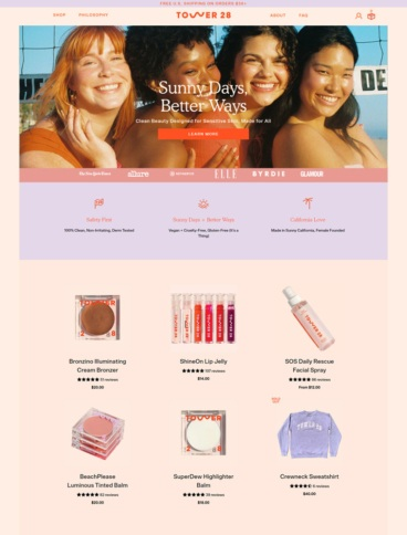 eCommerce website: Tower 28