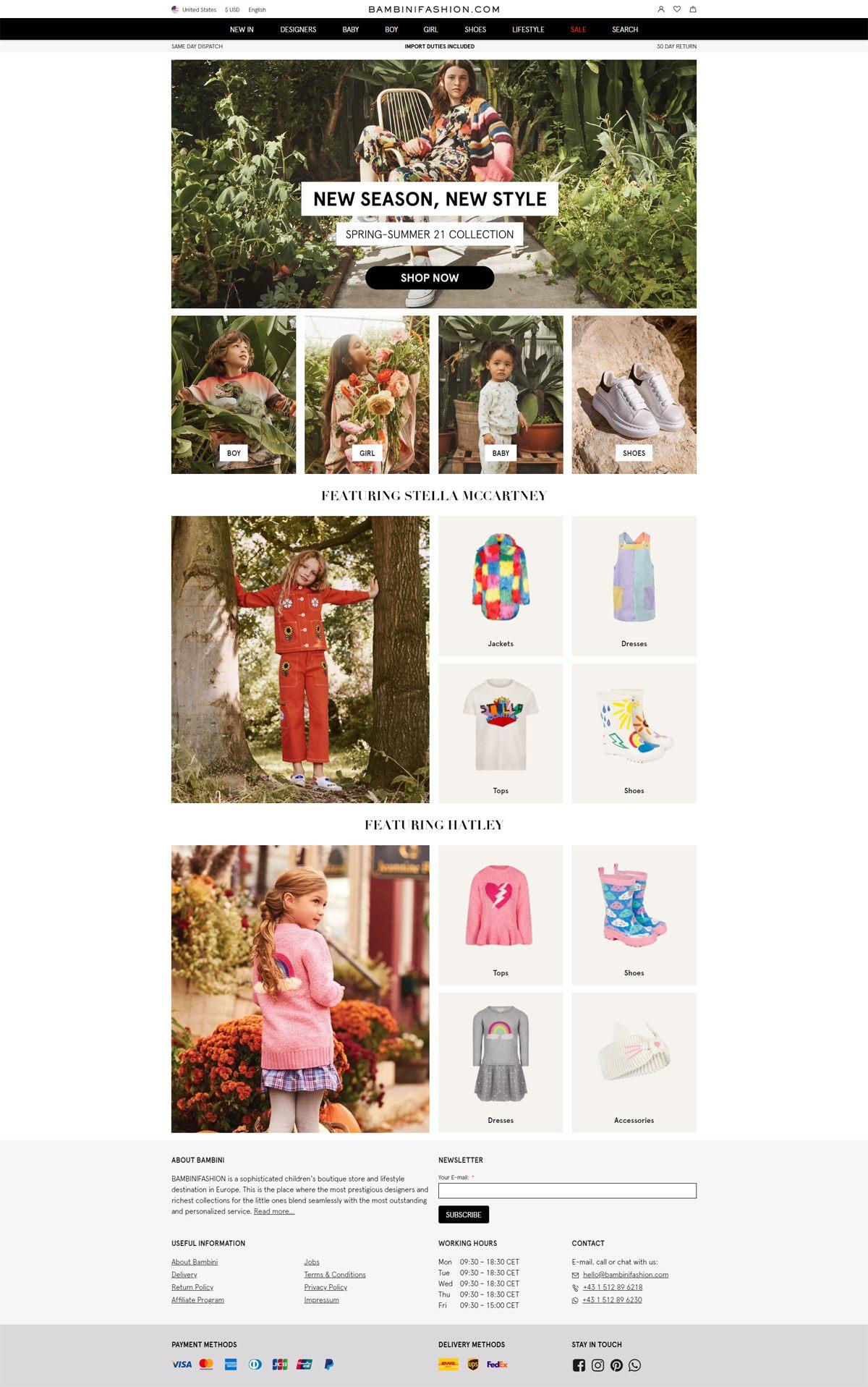 eCommerce website: BAMBINIFASHION