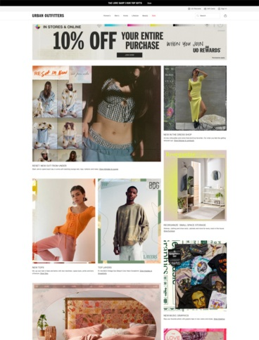 eCommerce website: urban Outfitters