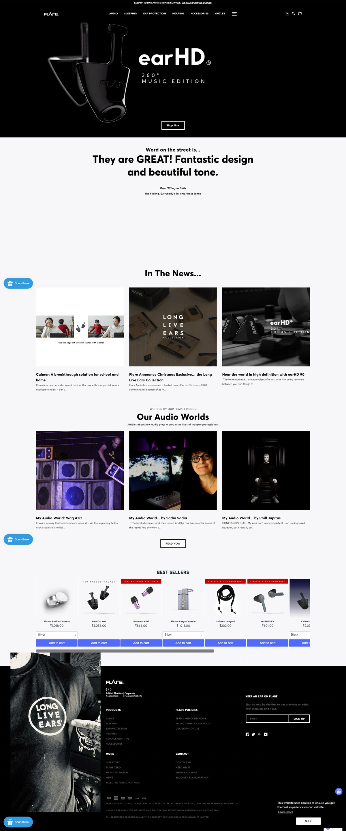eCommerce website: Flare Audio
